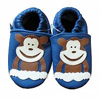 Afelo Chlapčenské kožené topánočky Opička - modré