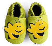 Afelo Detské kožené topánočky Včielka - zelené
