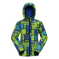 ALPINE PRO Detská softshellová bunda Binko - žlto-modrá, 104 cm