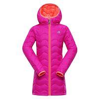 ALPINE PRO Dievčenský zimný prešívaný kabát Sierro - ružový, 128-134 cm