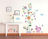 Ambiance Dekoračné samolepky - farebné zvieratká a kvetinový strom