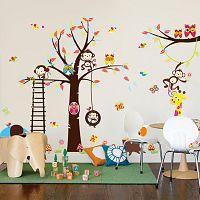Ambiance Nástenná samolepka Strom a zvieratká 1