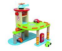 ANDREU Toys Parkovisko pre autá + autíčka a vrtuľník
