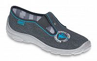 Befado Chlapčenské papučky s modrou potlačou Danny - šedé, EUR 34