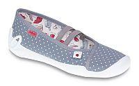 Befado Dievčenské bodkované papučky Blanca - šedé, EUR 34