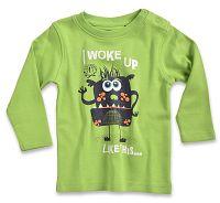 Blue Seven Chlapčenské tričko Aj woke up - zelené, 80 cm