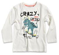 Blue Seven Detské tričko s dinosaurom - biele, 128 cm