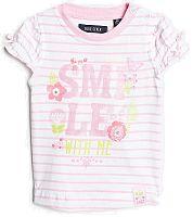 Blue Seven Dievčenské pruhované tričko s trblietavým potlačou - svetlo ružové, 74 cm