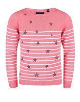 Blue Seven Dievčenské pruhovaný sveter s hviezdičkami - ružový, 98 cm