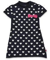 Blue Seven Dievčenské šaty so srdiečkami - čierne, 74 cm