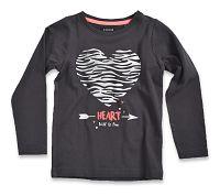 Blue Seven Dievčenské tričko Heart - tmavo šedé, 98 cm