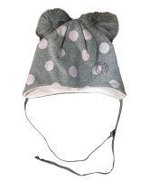 Broel Dievčenská bodkovaná čiapka Kitti - šedo-ružová, 45 cm