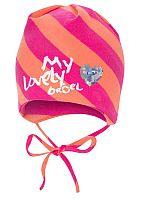 Broel Dievčenská pruhovaná čiapka so srdiečkom - ružovo-oranžová