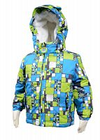 Bugga Chlapčenská zimná bunda s kožušinkou - modro-zelená, 92 cm