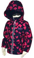 Bugga Dievčenské funkčné softshellová bunda s motýliky - farebná, 128 cm