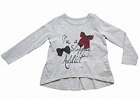 Carodel Dievčenské tričko s mašličkami - svetlo šedé, 110 cm