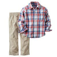 Carter's Chlapčenský komplet košeľa a nohavice - krémový, 98 cm