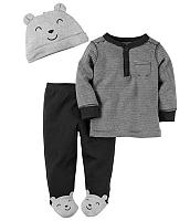 Carter's Chlapčenský trojkomplet - šedo-čierny, 62 cm