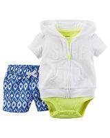 Carter's Dievčenský trojkomplet body, šortky a mikina - bielo-zeleno-modrý, 68 cm