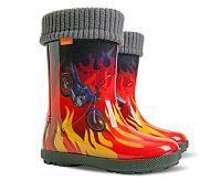 Demar Chlapčenské čižmy Hawai LUX Exclusive ED plamene - červené, EUR 32/33