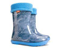 Demar Dievčenské gumáky Hawai LUX print AC Jeans Star - modré, EUR 20/21