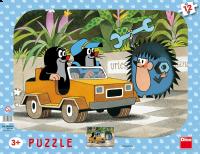Dino Puzzle doskové tvary Krtko a autíčko 12 dielikov