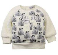 Dirkje Dievčenská mikina s tučniakmi - krémová, 98 cm