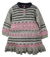 Dirkje Dievčenské pletené šaty - šedo-ružové, 116 cm
