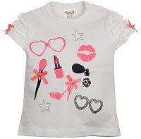 Dirkje Dievčenské tričko s dekoratívnou aplikáciou - biele, 74 cm