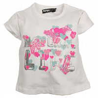 Dirkje Dievčenské tričko s motýlikmi - biele, 92 cm