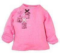Dirkje Dievčenské tričko s vtáčikmi - ružové, 80 cm