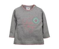 Dirkje Dievčenské tričko so srdiečkom - sivé, 62 cm