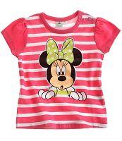 Disney Dievčenské pruhované tričko Minnie - ružové, 68 cm