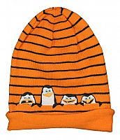 E plus M Chlapčenská čiapka Tučniaci z Madagaskaru - oranžová, 54 cm