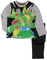 E plus M Chlapčenské pyžamo Korytnačky Ninja - šedo-čierne, 116 cm