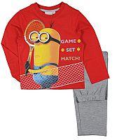 E plus M Chlapčenské pyžamo Mimoni - červeno-šedé, 128 cm