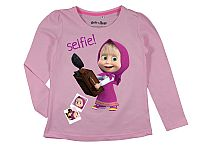 E plus M Dievčenské tričko Máša a Medveď - svetlo ružové, 128 cm