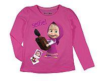 E plus M Dievčenské tričko Máša a Medveď - tmavo ružové, 122 cm