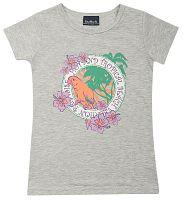 Escallante Dievčenské tričko s papagájom - sivé, 110 cm