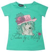 Escallante Dievčenské tričko so psíkom - zelené, 92 cm
