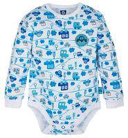 G-mini Chlapčenské body Autíčka - modro-biele, 74 cm