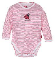 G-mini Dievčenské body Lienka prúžkované - ružovo-biele, 74 cm