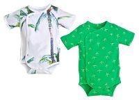 Gelati Chlapčenský set 2ks zavinovacích body Aloha - bielo-zelený, 50-56 cm