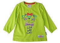 Gelati Dievčenské tričko s mačkou - zelené, 68 cm