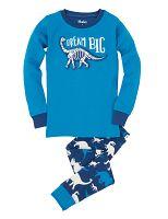 Hatley Chlapčenské pyžamo s dinosaurami - modré, 7 let