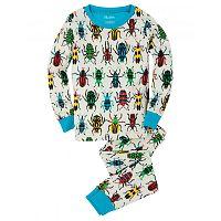 Hatley Chlapčenské pyžamo s farebnými chrobáčikmi - biele, 8 let