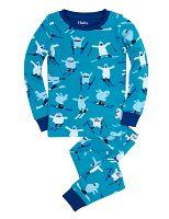 Hatley Chlapčenské pyžamo s lyžiarmi - modré