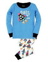 Hatley Chlapčenské pyžamo s raketami - modro-biele, 10 let