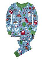 Hatley Chlapčenské pyžamo so zimnými športami - modro-zelené, 12 let