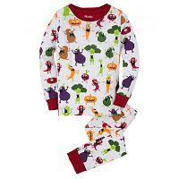 Hatley Detské pyžamo so strašidelnou zeleninou - biele, 10 let